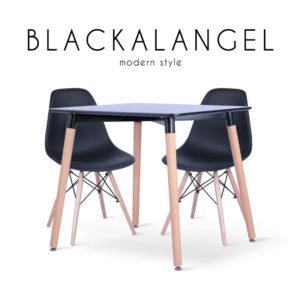BLACKALANGEL (แบล็คคอลแองเจิ้ล) ชุดโต๊ะงานอีเวนท์ โครงขาและท็อปไม้ เบาะโพลีพรอพไพลีน สำหรับ 2 ที่นั่ง สไตล์โมเดิร์น ขนาด : (โต๊ะ) W80 x D80 x H75 cm. / (เก้าอี้) W46.5 x D50 x H82 cm.
