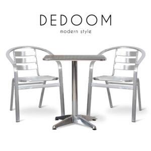 DEDOOM (ดีโด้โอม) ชุดโต๊ะสนาม โครงขา ท็อปและเบาะอลูมิเนียม สำหรับ 2 ที่นั่ง