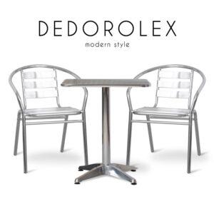 DEDOROLEX (ดีโด้โรเล็กซ์) ชุดโต๊ะสนาม โครงขา ท็อปและเบาะอลูมิเนียม สำหรับ 2 ที่นั่ง