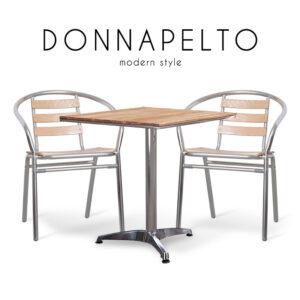 DONNAPELTO (ดอนน่าเพลโต) ชุดโต๊ะสนาม โครงขาอลูมิเนียม ท็อปและเบาะไม้ สำหรับ 2 ที่นั่ง สไตล์โมเดิร์น ขนาด : (โต๊ะ) W60 x D60 x H70 cm. / (เก้าอี้) W56 x D55 x H72 cm.