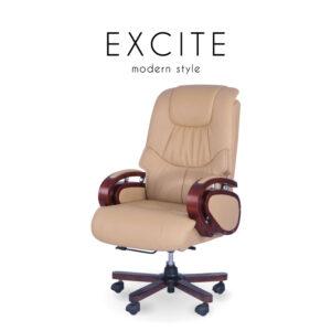EXCITE (เอ็กไซต์) เก้าอี้สำนักงาน โครงขาไม้ เบาะหนัง ปรับระดับสูง-ต่ำได้ ปรับเอนได้
