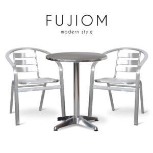 FUJIOM (ฟูจิโอม) ชุดโต๊ะสนาม โครงขา ท็อปและเบาะอลูมิเนียม สำหรับ 2 ที่นั่ง