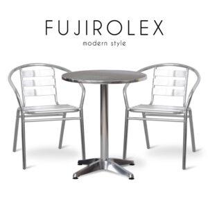 FUJIROLEX (ฟูจิโรเล็กซ์) ชุดโต๊ะสนาม โครงขา ท็อปและเบาะอลูมิเนียม สำหรับ 2 ที่นั่ง