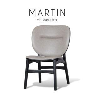 MARTIN (มาร์ติน) เก้าอี้ทานอาหาร โครงขาไม้ เบาะหนัง สไตล์วินเทจ ขนาด : W62 x 67 x 87.5 cm.