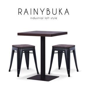 RAINYBUKA (เรนนี่บูก้า) ชุดโต๊ะงานอีเวนท์ โครงขาเหล็ก ท็อปและเบาะไม้ สำหรับหรับ 2 ที่นั่ง สไตล์ลอฟท์ ขนาด : (โต๊ะ) W60 x D60 x H75 cm. / (เก้าอี้) W31 x D31 x H45 cm.