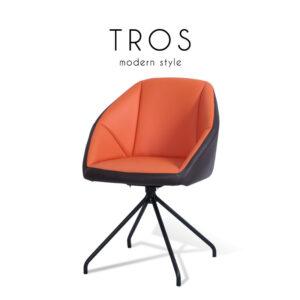 TROS (ทรอส) เก้าอี้ทานอาหาร โครงขาเหล็ก เบาะหนัง สไตล์โมเดิร์น ขนาด : W45 x D45 x H89 cm.