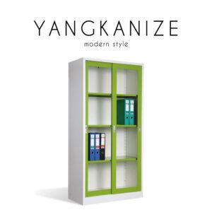 YANGKANIZE (แยงกาไนซ์) ตู้เก็บเอกสาร โครงเหล็ก บานเลื่อน กระจกใส สไตล์โมเดิร์น ขนาด : W91.6 x D45.8 x H183 cm.