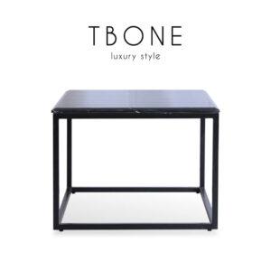 TBONE (ทีโบน) โต๊ะกลาง โครงขาเหล็ก ท็อปหินอ่อน สไตล์หรูหรา ขนาด : W60 x D60 x H45 cm.