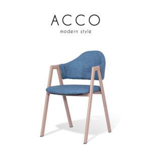ACCO (แอคโค่) เก้าอี้ทานอาหาร โครงขาเหล็ก เบาะหนังลายผ้า สไตล์โมเดิร์น ขนาด : W45 x D42 x H79 cm.
