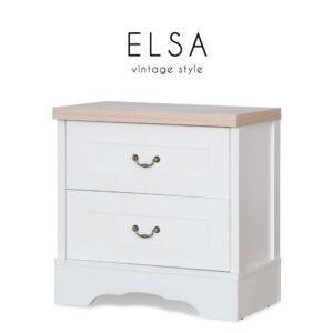 ELSA (เอลซ่า) ตู้ข้างเตียง โครงไม้ สไตล์วินเทจ ขนาด :W55 x D35 x H55 cm.